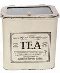 Theeblik 'Tea' met glazen deksel