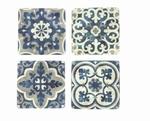 Onderzetter blauw/wit Design motief